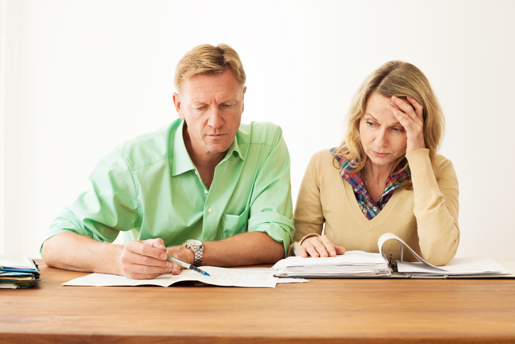 couple reviewing retirement paperwork